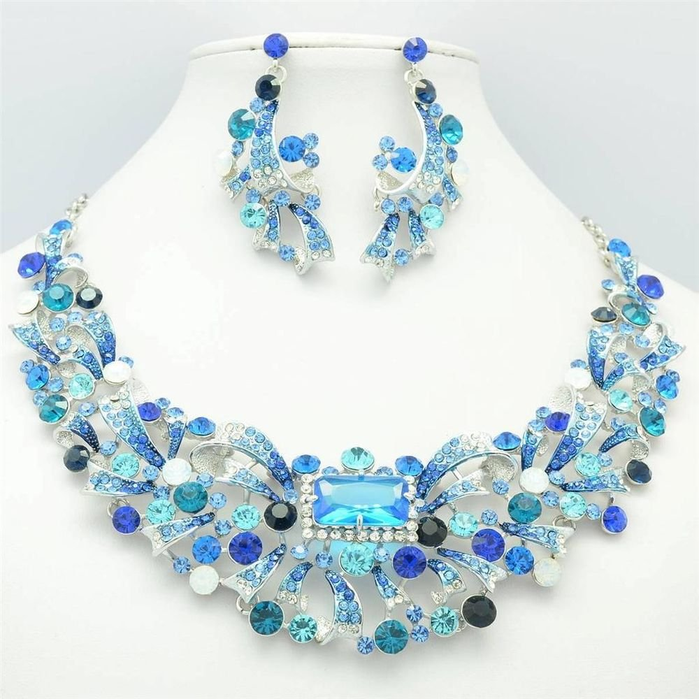 Dazzling Zircon Flower Necklace Earring Jewelry Set Blue Rhinestone Crystal 5192