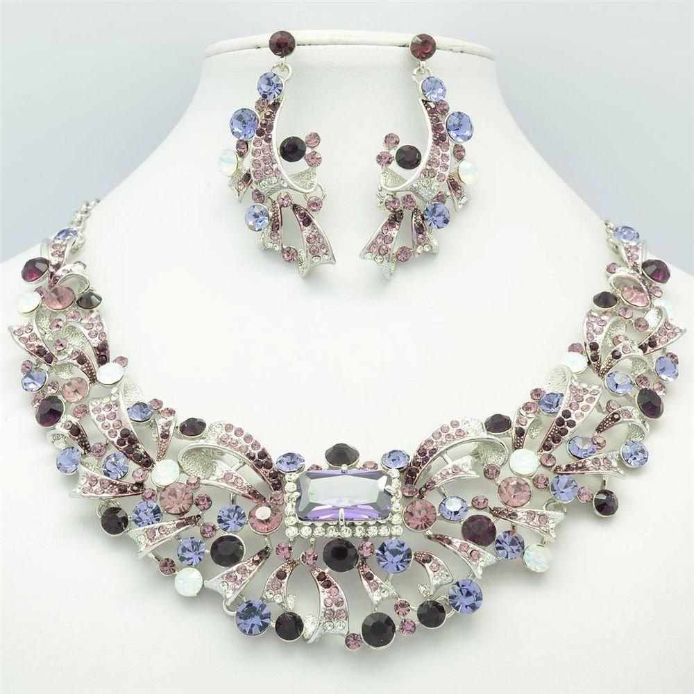 Noble Purple Ribbon Flower Necklace Earring Jewelry Set Rhinestone Crystal 5192