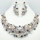 Noble Purple Ribbon Flower Necklace Earring Jewelry Set Rhinestone Crystal 5192