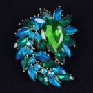 "Flower Pendant Brooch Broach Pin Green Rhinestone Crystals 2.7"""
