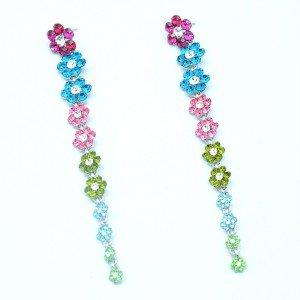 Rhinestone Crystals Cute Multicolor Long Flower Pierced Earring Dangle 88322