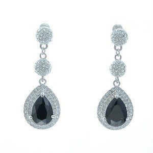 Rhinestone Crystals Triple Black Teardrop Dangle Pierced Earring