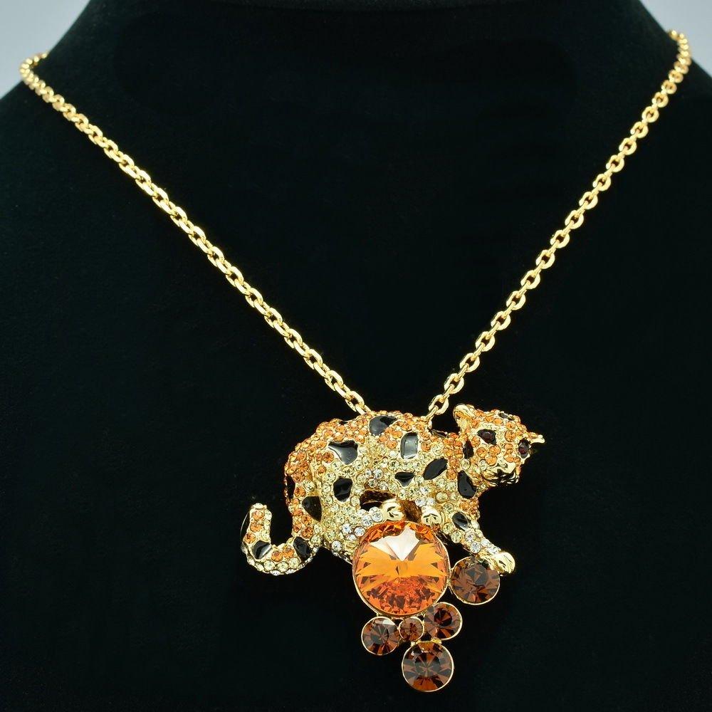 Dazzling Swarovski Crystals Animal Topaz Panther Leopard Necklace Pendant SN2939
