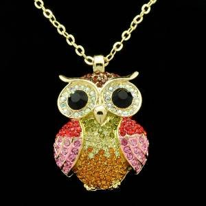 Animal Pink/Red Bird Owl Necklace Pendant W/ Rhinestone Crystals