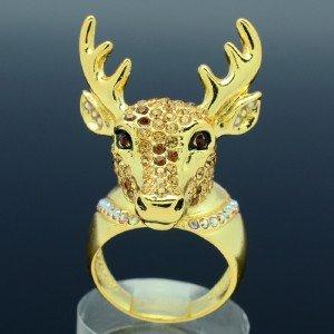 Gold Tone Fashion Animals Brown Deer Cocktail Ring Size 8# W/ Swarovski Crystals