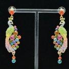 Luxury Peafowl Peacock Pierced Earring Swarovski Crystal Dangle Multicolor
