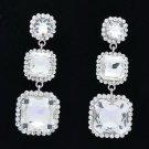 Wedding Rhinestone Crystal Bridal Clear Square Drop Pierced Earring Women 141525