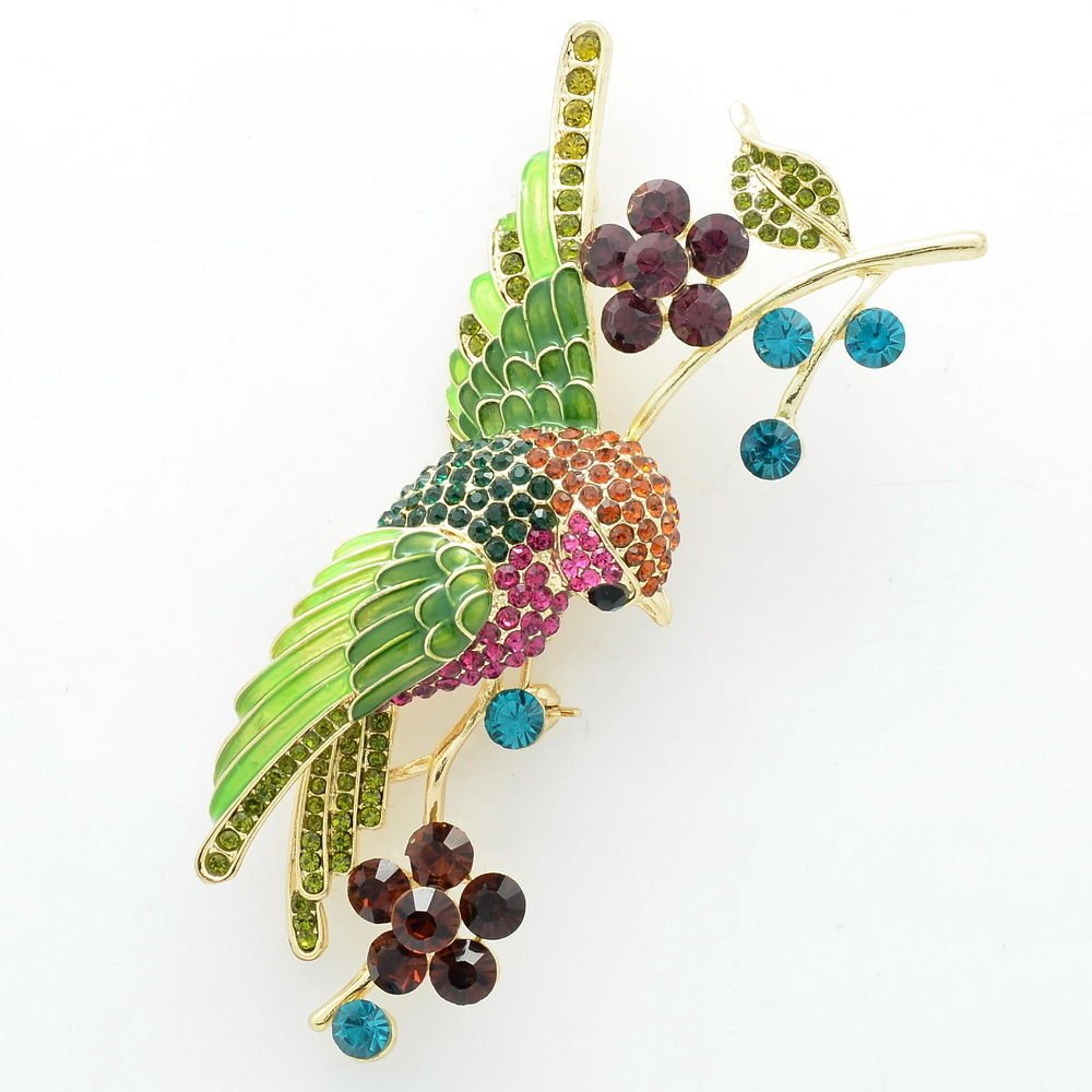 Mix Rhinestone Crystals Flower Humming Bird Green Wing Brooch Pin Gold Tone 6008