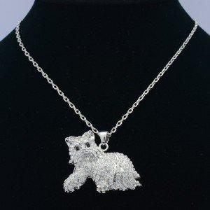 High Quality Animal Bowknot Dog Necklace Pendant W/ Clear Swarovski Crystals