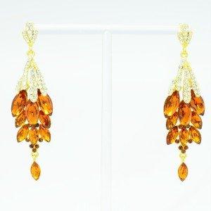 Fashion Cluster Tear Drop Dangle Earring Topaz Rhinestone Crystal 123731