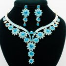 Sky Blue Flower Necklace Set Rhinestone Crystal Women's  Party Accessories 00329