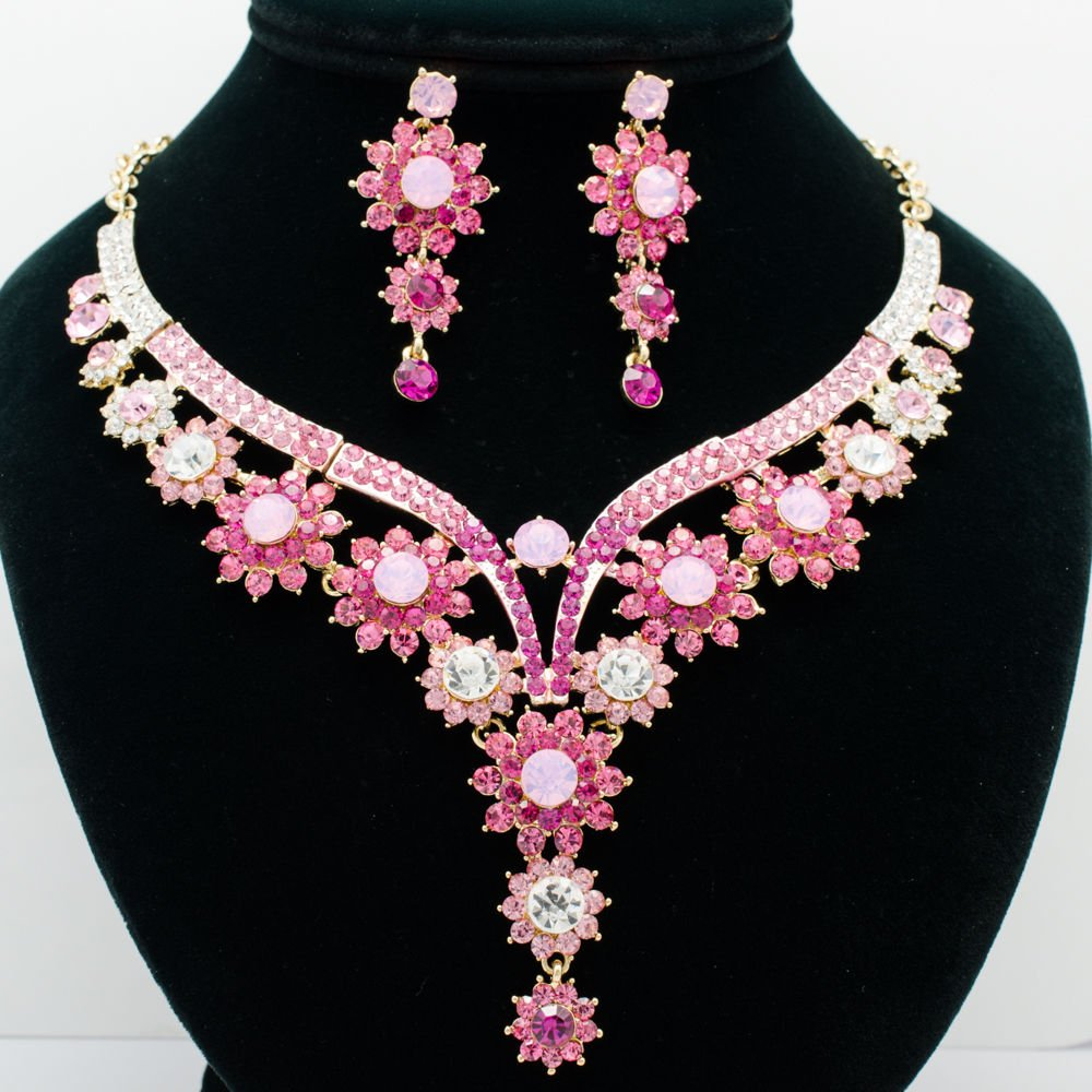 Peach Pink Flower Butterfly Necklace Jewelry Set Rhinestone Crystals Women 00329
