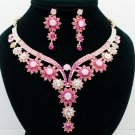 Peach Pink Flower Butterfly Necklace Jewelry Set Rhinestone Crystals Women 00329