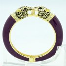 Animal Enamel Purple Leopard Panther Bracelet Bangle Cuff Swarovski Crystals