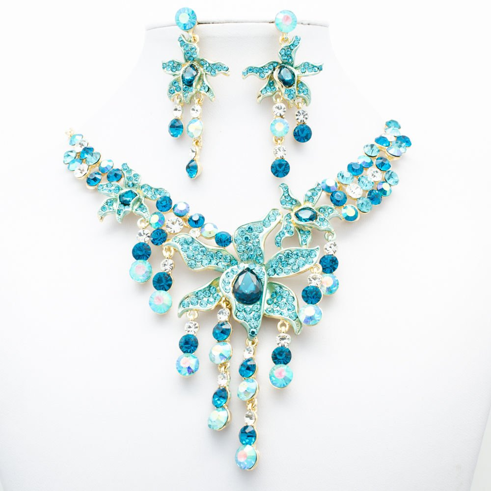 Summer Morning Glory Flower Necklace Earrings Set Blue Rhinestone Crystal 00898