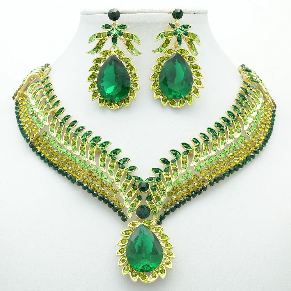 Green Rhinestone Crystals Drop Leaf Flower Necklace Earring Jewelry Sets 05804