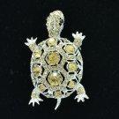 Exquisite Animal Topaz Turtle Tortoise Brooch Broach Pin Rhinestone Crystal 3631
