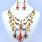 Colorful Mix Rhinestone Crystals Flowers Skeleton Skull Necklace Earrings Set