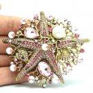 Imitate Pearl Pink Starfish Brooch Pin Jewelry Rhinestone Crystal For Women 6412