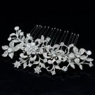 Clear Flower Rhinestone Crystal Comb Hair Accessories for Wedding Prom 2251R