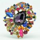 Colorful Leaf Flower Multicolor Rhinestone Crystals Drop Brooch Broach Pin 6173