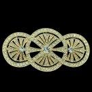 Vintage Triple Round Flower Brooch Broach Pins Clear Rhinestone Crystals XBY067