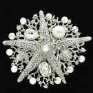 Bridal Starfish Brooch Broach Pin Imitate Pearl Clear Rhinestone Crystals 6412