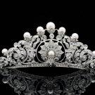 Faux Pearls Swarovski Crystal Princess Wedding Flower Tiara Crown Pageant 14003R