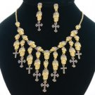 Purple Rhinestone Crystal Cross Skeleton Skull Halloween Necklace Earring Set