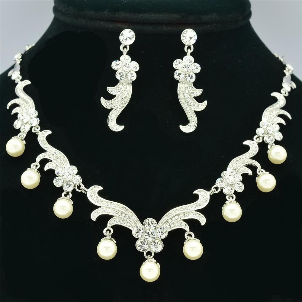 Rare Faux Pearl Flower Swarovski Crystals Necklace Earrings Set Wedding SNA3140