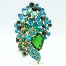 Attractive Green Flower Brooch Hat Pin Rhinestone Crystals Prom Jewelry 6452