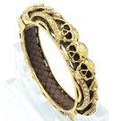 Vogue Brown Leather Gold Rhinestone Crystals 3 Skull Bangle Jewelry SKCA2004M
