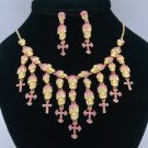 Pink Rhinestone Crystals Cross Skeleton Skull Necklace Earring Set For Halloween