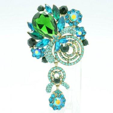 Dossy Pendant Jewelry Green Rhinestone Crystals Flower Fruit Brooch Broach 6456