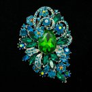 Dazzling Green Flower Brooch Costume Pin Women Jewelry Rhinestone Crystals 6075