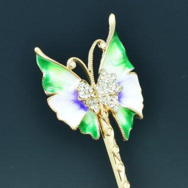 Fashion Green Enamel Butterfly Clear Rhinestone Crystal Hairpin Headdress 693901