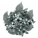 "Glamorous Gray Rhinestone Crystals Leaves Flower Brooch Pin Jewelry 2.9"" 6029"