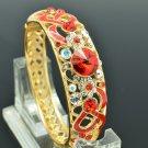18K Gold GP Red  Swarovski Crystal Enamel Flower Bracelet Bangle Cuff SKCA1609A