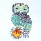 Rhinestone Crystals Lovely Purple Owl Brooch Broach Pin Jewelry FA3183