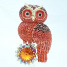 Rhinestone Crystals Animal Lovely Red Owl Brooch Broach Pin Jewelry FA3183