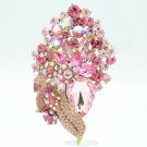 Pink Flower Brooch Hat Pin Rhinestone Crystals Women Accessories Jewelry 6452