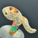 Chic Multi-Color Enamel Snake Ring With Rhinestone Crystals Size 7# SRA2173