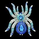VTG Style Drop Rhinestone Crystals Blue Spider Tarantula Brooch Broach Pins 6485