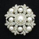 Cute Imitated Pearl Wedding Flower Brooch Broach Pin Rhinestone Crystals FB1201
