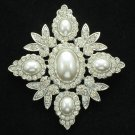 Cute Flower Pearl Brooch Pins Wedding Bridal Jewelry Clear Rhinestone Crystals