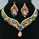 Dossy Multicolor Rhinestone Crystals Flower Teardrop Necklace Earrings Set 5535