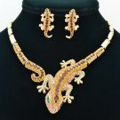 Rhinestone Crystal Chic Brown Lizard  Necklace Earring Set Women Jewelry FA3274