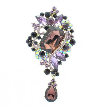 "Purple Rhinestone Crystals Drop Pretty Flower Brooch Broach Pin 3.7"" Party 4823"