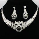 Rhinestone Crystal Silver Tone Animal Tiger Necklace Earring Set Women's Jewelry