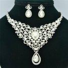 Delicate Clear Rhinestone Crystals Flower Necklace Earrings Wedding Set SET760